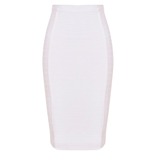 HLBandage Women's High Waist Elastic Rayon Bandage Pencil Skirt (S, White)
