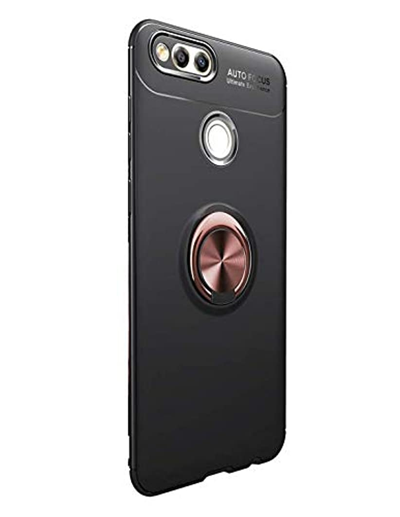 Jaorty for Huawei Mate SE,Honor 7X Case,360 Degree Rotation Invisible Metal Ring Stand Protective Case Compatible Magnetic Car Mount Soft TPU Shockproof Anti-Scratch Cover,Black+Rose Gold