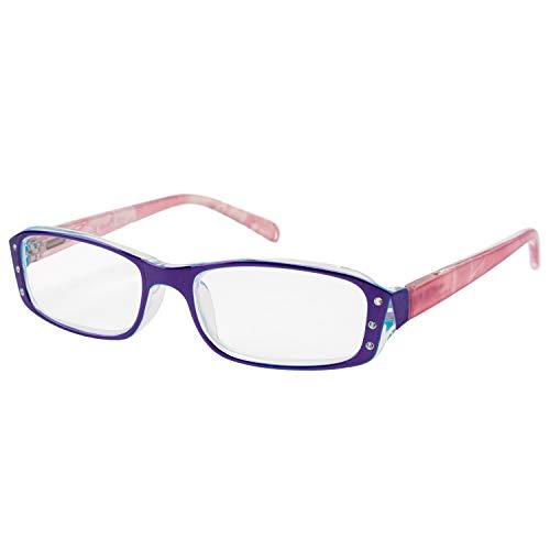 エール 老眼鏡 2.0 度数 レディース プラスチックフレーム バネ蝶番 パープル ピンク AP115S