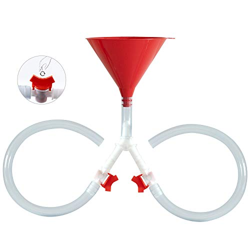 Supkiir Embudo de cerveza con válvula, tubo sin torceduras, válvula fácil a prueba de fugas, embudo premium para fiestas de cerveza, juegos de bebida/válvula doble