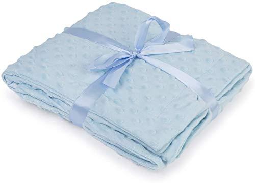Manta de Bebé Terciopelo Tacto Seda o Visón 440gr/m2 (80x130, TOPITOS Azul)