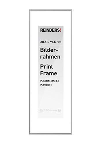 REINDERS Bilderrahmen Wechselrahmen Poster Silber Kunststoff medium 30x91,5cm - 32 x 93 cm Wohnzimmer