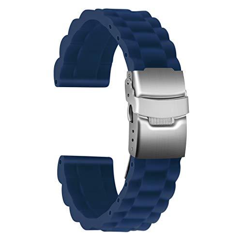 Ullchro Bracelet Montre Haute Qualité Remplacer Silicone Bracelet Montre Link Pattern - 16mm, 18mm, 20mm, 22mm, 24mm Caoutchouc Montre Bracelet avec Boucle Déployante Acier inoxydable (20mm, blu)