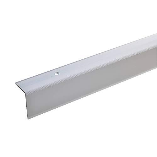 acerto 38070 Aluminium Treppenwinkel-Profil - 100cm, 42x30mm, silber * Rutschhemmend * Robust * Leichte Montage | Treppenkanten-Profil, Treppenstufen-Profil aus Alu | Gelochtes Stufenkanten-Profil