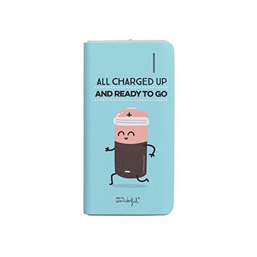 Mr Wonderful Batería Externa 4000 mAh - Diseño All Charged Up, Compacta y Conexión Micro USB