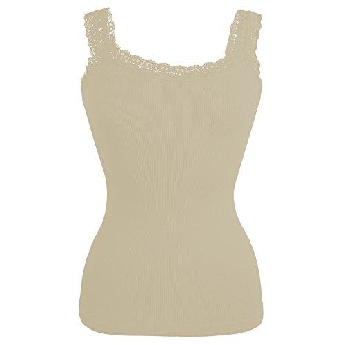 Glamexx24 La Dessous, dames geribbelde top met kant, dames shirt onderhemd met spitse vrouw top voor elke dag