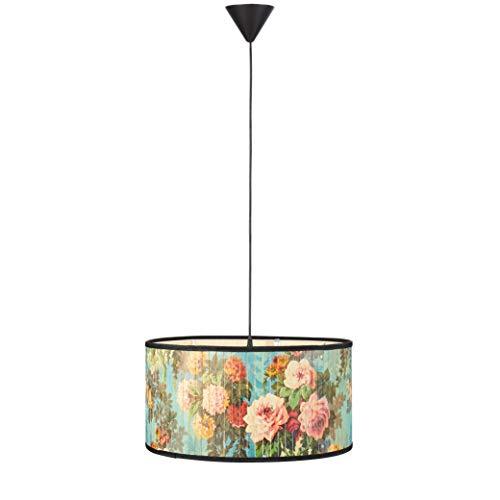Markslöjd PARK - Lámpara colgante con 1 bombilla para salón, comedor o dormitorio, E27 de bambú multicolor y con decoración de flores
