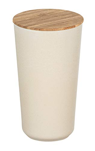 WENKO Aufbewahrungsdose Bondy 0,95 l - Dose mit Bambusdeckel und Silikonring, luftdicht Fassungsvermögen: 0.95 l, Bambusfaser, 10.5 x 18.5 x 10.5 cm, Creme