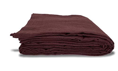 JOWOLLINA 100% Leinen Stonewashed Laken Bettlaken Tuch Überwurf mit Briefecken(265x280 cm, Schwarze Tulpe)