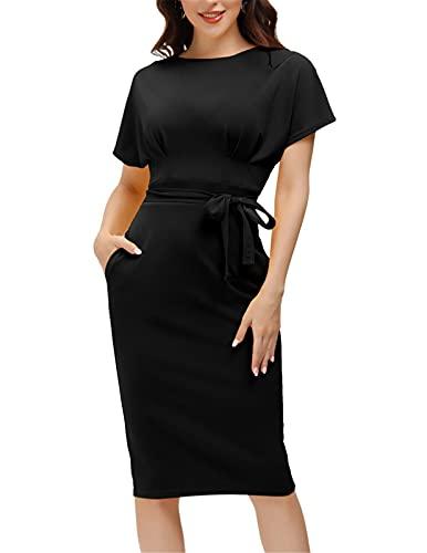 Women's Business Dresses for Work Knee Length Vintage Short Sleeve Pencil Bodycon Dress Black XL