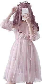 Japanese Lolita Dresses Sexy Sweet 2 Piece Sets A-Line Flowers Princess Party Dress  Pink