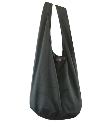 BenThai Products BTP! Thai Monk Buddha Cotton Sling Bag Crossbody Messenger Purse Hippie Hobo Grey L6, Large