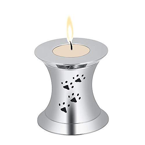 Luxuon DecoraciónSello del Recuerdo de los Ornamentos, de la Pata del Perro de Acero Inoxidable de impresión Mini Ataúd del Recuerdo de urnas para Cenizas Candelabro joyería,Plata