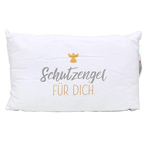 Dekohelden24 Engel Kissen mit Bezug aus 100% Baumwolle, L/B/H: 40 x 13 x 23 cm. Motiv: Schutzengel für Dich.