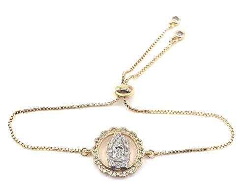 Virgen de Guadalupe 18K Gold Plated Bracelet Mother Mary Jewelry