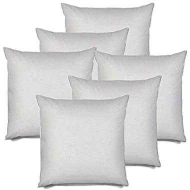 IZO All Supply Square Sham Stuffer Hypo-Allergenic Poly Pillow Form Insert, 18  L x 18  W (6 Pack), Non-Woven Liner