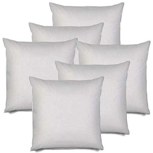 "IZO All Supply Square Sham Stuffer Hypo-Allergenic Poly Pillow Form Insert, 18"" L x 18"" W (6 Pack)"