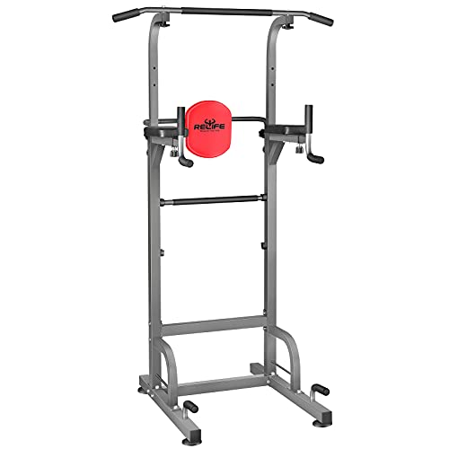RELIFE REBUILD YOUR LIFE Power Tower Workout Dip Station for Home Gym Strength Training Fitness Equipment Newer Version