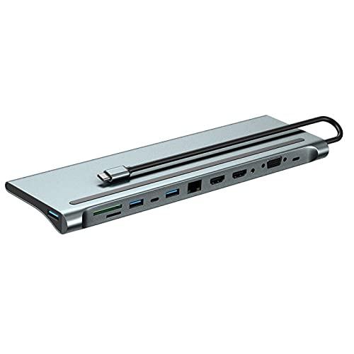 Docking Station, 12 in 1 USB-C Hub, USB Type C to 4K 30Hz dual HDMI+VGA, 87W PD, 4 USB3.0,SD/TF Reader,Ethernet RJ45,3,5mm Audio für HP/MacBook/Dell/Lenovo Laptops.