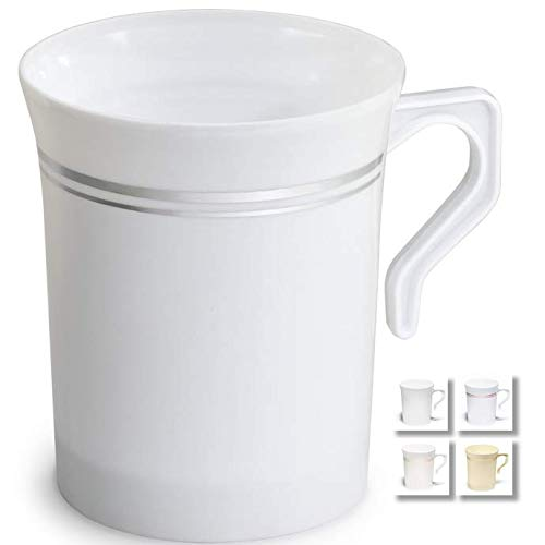 ' OCCASIONS' 240 Mugs Pack, Heavyweight Disposable Wedding Party Plastic 8 oz Coffee Mugs/Tea Cups/Cappuccino Cups/Espresso Cup with Handles (8 oz Mugs, White & Silver Rim)