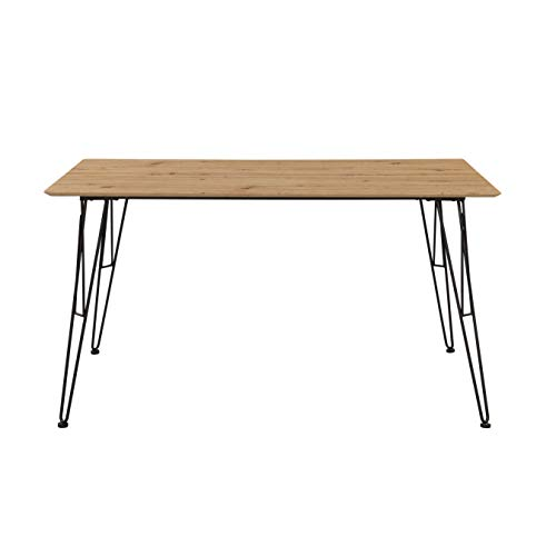 Inter Link Design Esszimmertisch Tisch im Industrial Style Metall Schwarz und MDF Eiche Artisan Nachbildung, 140 x 80 x 75 cm