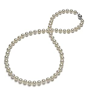 HinsonGayle AAA Handpicked White Round Freshwater Cultured Pearl Necklace (Silver)