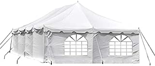 20-Foot by 40-Foot Deluxe White Canopy Pole Complete Outdoor Party Tent Set with Two Cathedral Sidewalls & Two Solid Sidewalls, Storage Bag, Stakes, Ropes, and Poles for Weddings, Events, Parties