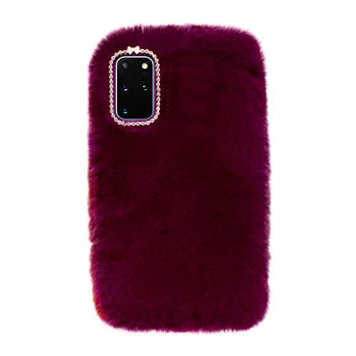 Losin Plush Case Compatible with Samsung Galaxy S20 Plus 6.7 inch 5G Fashion Luxury Diamond Bowknot Cute Fuzzy Furry Winter Rabbit Hair Warm Plush Fluffy Fur Soft TPU Back case