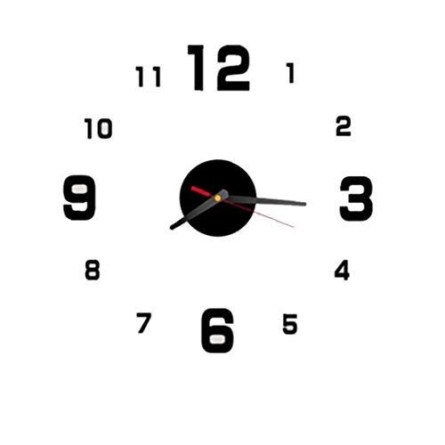 Lankater 3D Wanduhr Acryl Spiegel Aufkleber Horloge Startseite Wohnzimmer-Dekoration 40cm Schwarz