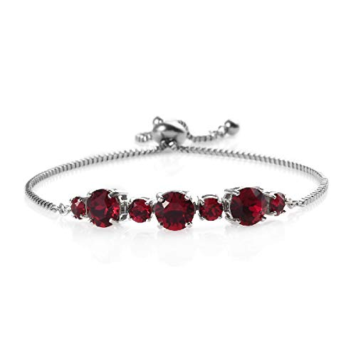 Shop LC Delivering Joy Karis Collection Made with Swarovski Ruby Crystal Round Bolo Bracelet Jewelry Ct 3.8 Adjustable