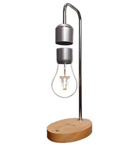 2Float edle hänge LED Tischlampe in Holzoptik - Magnetische Lampe als Deko oder Schreibtischlampe - Hochwertige Magnet Glühbirne perfekt als Zimmerdeko und Geschenk