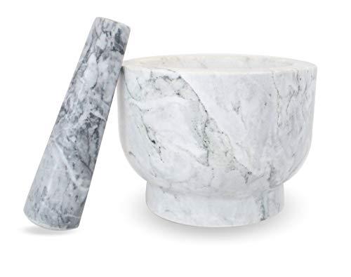 Mörser aus Naturstein großer Steinmörser 4,2 KG und Stößel | Küchenhelfer zum Mahlen von Gewürze Kräuter BBQ Rub Pesto Soßen Dips