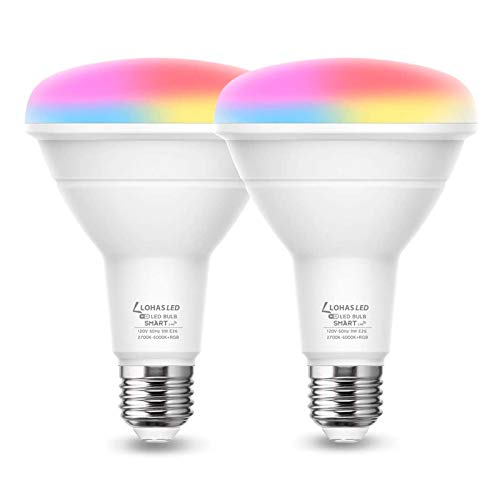 LOHAS Smart Light Bulb, 9W RGB Color Changing Light Bulbs, Dimmable BR30 LED WiFi Bulb Compatible with Alexa, Google Assistant, SIRI, 65W Equivalent Decorative Lighting for Party Stage, 900LM, 2 Pack