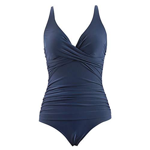 Traje de Baño de Una Pieza Mujer Halter Elegante Trajes de Baños para Mujer Alta Cintura Bañadores de Mujer Sexy Cuello en V Profundo Natacion con Control de Barriga Traje de baño,Azul,M