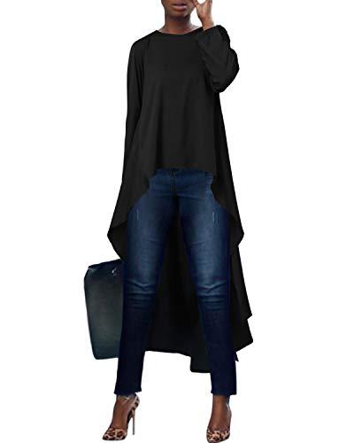 kenoce Blusa de Mujer Irregular Maxi Blusa Sueltas Largas Camiseta Abertura Larga Cuello Redondo y Manga Larga Elegante Fiesta Cóctel Noche Vestidos Talla Grande