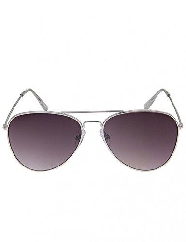 Leslii Damen-Sonnenbrille Piloten-Look Doppelsteg Silber Metall silver Sunglasses silberne Sonnenbrille