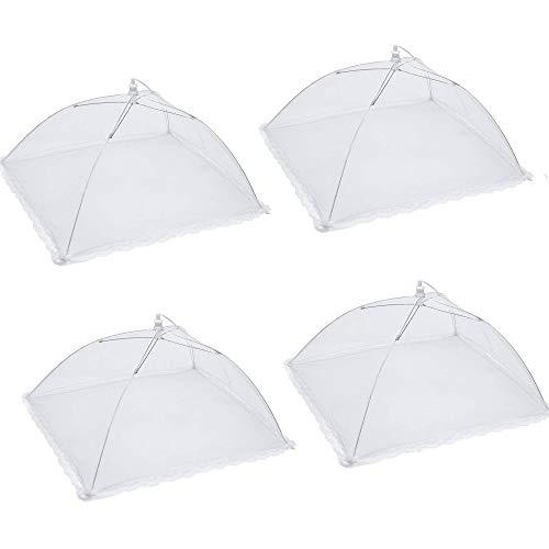 Kungfu Mall - 4 ombrelli pieghevoli per tenere lontani mosche, insetti e zanzare, 35,6 cm, colore: bianco