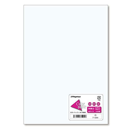 長門屋商店 カラーペーパー A5 中厚口 白 100枚 ナ-5201 1セット(100枚×10)