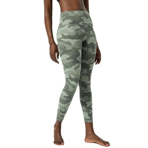 Pantalones de Yoga de Fitness de Celulitis de Camuflaje Desnudo Suave para Mujer Pantalones de Correr de Gimnasio Anti-Push-up en Cuclillas de Cintura Alta D M