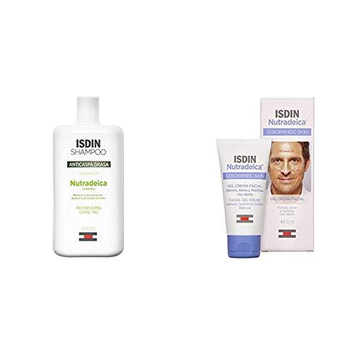 ISDIN Nutradeica PACK para pieles seborréicas: Gel-crema facial 50 ml + Champú Anticaspa Grasa, 400ml