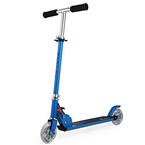 Fascol Patinete para niños, Scooter Patinete Infantil Plegable de Dos Ruedas , Manillar de Altura Regulable y Plegable,Blue