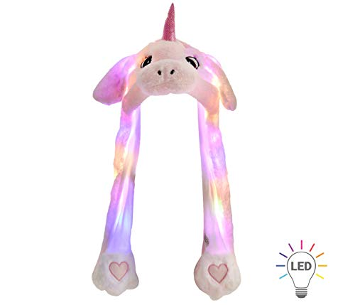 Alsino Wackelohr Mütze mit LED Beleuchtung Einhorn Plüsch Party Verkleidung Tiermütze Partyhut...
