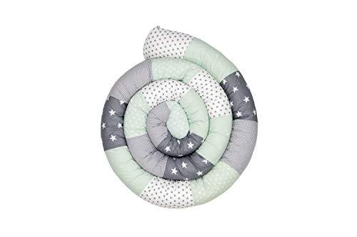Cojín protector para cuna de ULLENBOOM  cojín chichonera en forma de serpiente menta gris (ideal para proteger al bebé de los barrotes de la cuna o como cojín de apoyo)