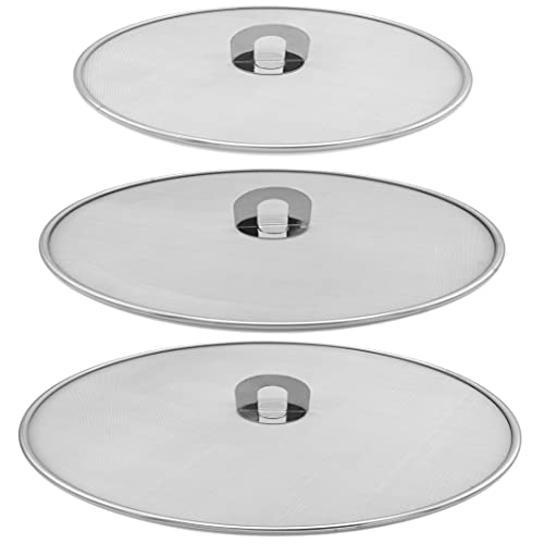 Amestar Grease Splatter Screen For Frying Pan Cooking - Stainless Steel Mesh Splatter Guard Set of 9.8', 11.5' and 13' inch -Stops Stove Oil Guard Skillet Lid Heavy Duty