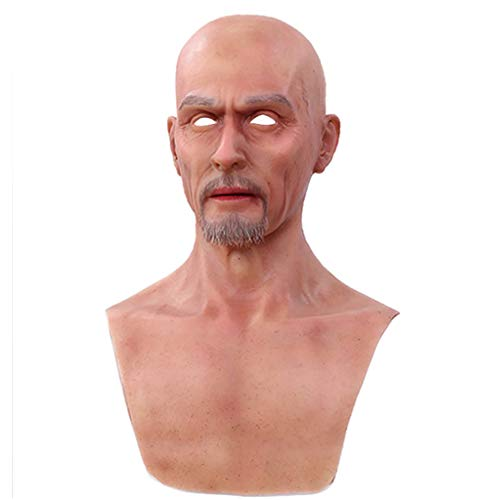 NACHEN Crossdressing Silicone Mask Realistic Realistic Head Mask Old Man Cabeza de Halloween Latex Head Masks