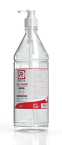 RMOVE 1 Litro gel igienizzante mani 70% ALCOL Gel mani profumato al limone arricchito con olii essenziali di Aloe e Timo