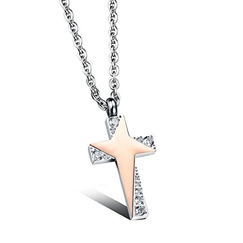 YNING Colgante de Collar de Cruz de Acero de Titanio, Collar de Pareja de Cruz Centelleante de Estrella