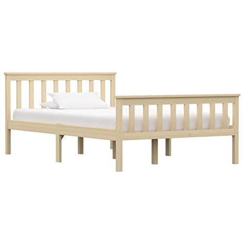 vidaXL Madera Maciza de Pino Estructura de Cama Matrimonio Doble Natural 120x200 cm Somier Muebles de Dormitorio Habitación