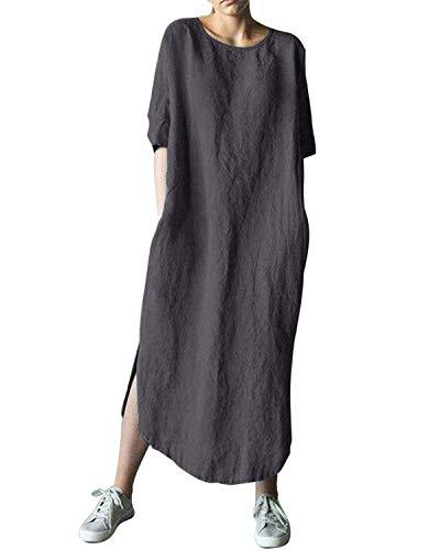 AUDATE Damen Leinen Baumwolle Lang Kleid Beiläufige Langarm Lose Maxikleider Kaftan, Dunkelgrau, DE 48 (Herstellergröße: 4XL)