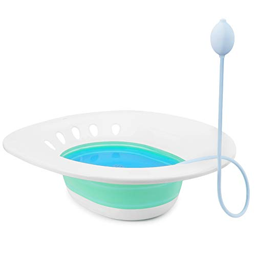 Folding Sitz Bath Toilet Basin with Flusher, Bidet for Pregnant Women, Postpartum Care, Hemorrhoids Recovery, Vaginal/Anal Inflammation or Swelling Treatment -Portable for Perineal Soaking Bath